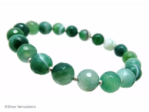 Faceted Green Stripey Banded Agate & Sterling Silver Beaded Bracelet